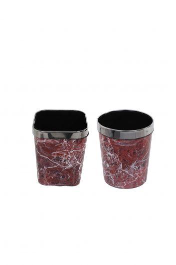 سلة مهملات بلاستيكية مستديرة ومربعة مع غطاء معدني بنمط رخامي مجموعة من 2 - Thumbnail