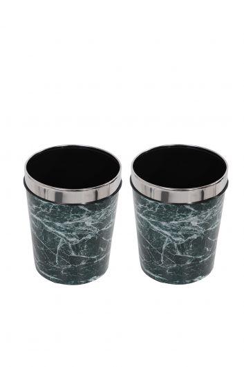 MARKAPIA HOME - سلة مهملات بلاستيكية مستديرة مع غطاء معدني بنمط رخامي مجموعة من 2 (1)