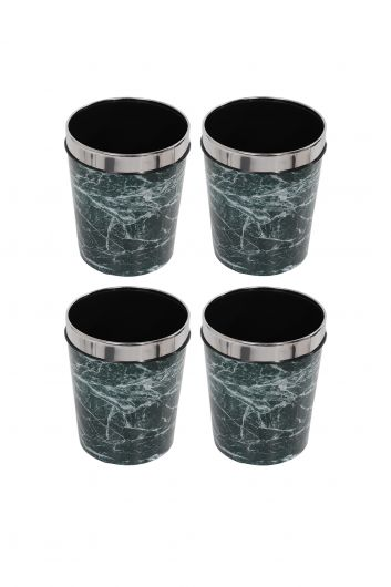 MARKAPIA HOME - سلة مهملات بلاستيكية مستديرة مع غطاء معدني بنمط رخامي مجموعة من 4 (1)