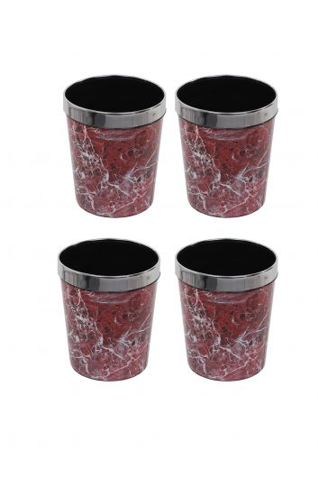 Plastic Round Trash Can With Marble Pattern Metal Cap Set Of 4 - Thumbnail