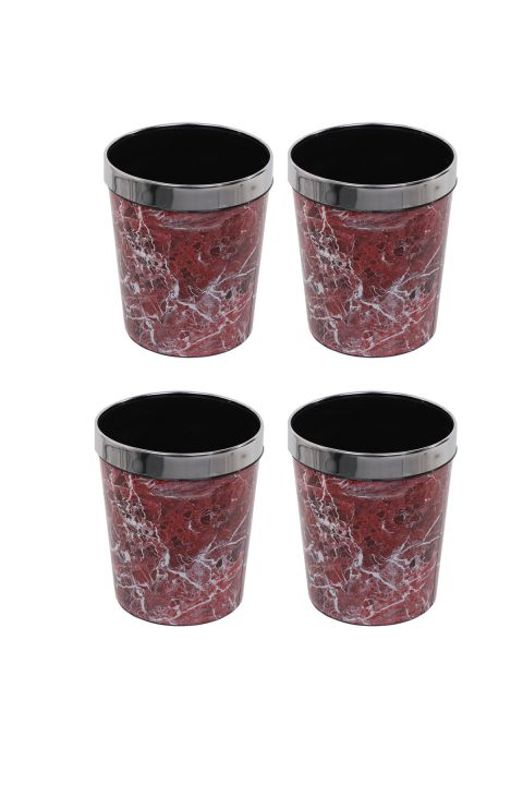 Plastic Round Trash Can With Marble Pattern Metal Cap Set Of 4