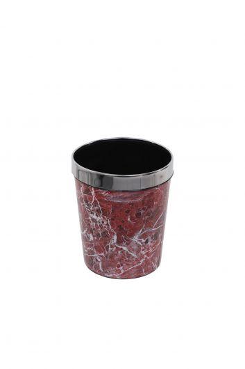 سلة مهملات بلاستيكية مستديرة مع غطاء معدني بنمط رخامي - Thumbnail