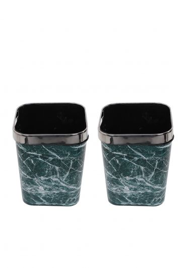 MARKAPIA HOME - سلة مهملات بلاستيكية مربعة مع غطاء معدني بنمط رخامي مجموعة من 2 (1)