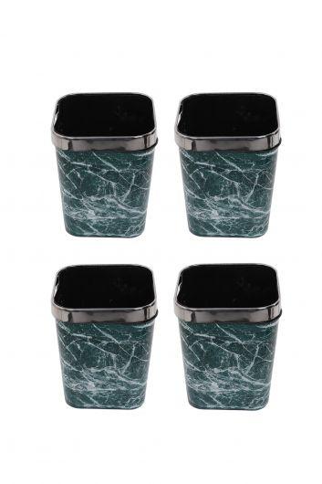 MARKAPIA HOME - سلة مهملات بلاستيكية مربعة مع غطاء معدني بنمط رخامي مجموعة من 4 (1)
