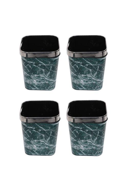 سلة مهملات بلاستيكية مربعة مع غطاء معدني بنمط رخامي مجموعة من 4