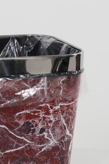MARKAPIA HOME - سلة مهملات بلاستيكية مربعة مع رأس معدني بنمط رخامي (1)