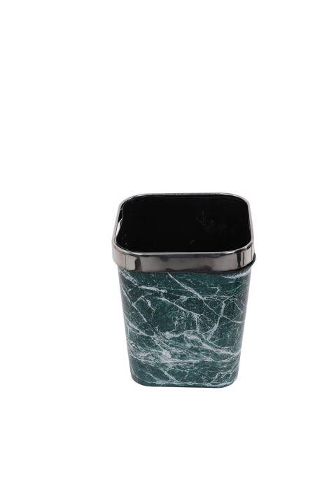 سلة مهملات بلاستيكية مربعة مع رأس معدني بنمط رخامي