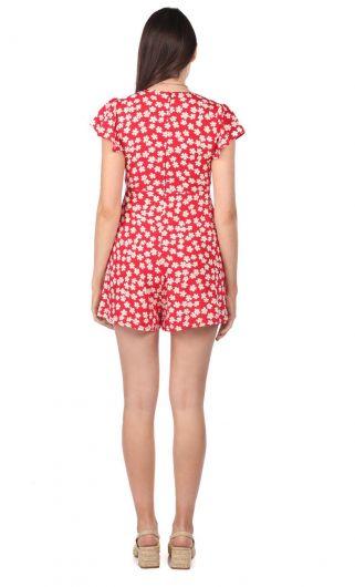 Çiçek Desenli Şort Tulum Elbise - Thumbnail