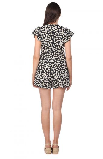 فستان أفرول قصير بنقشة الزهور - Thumbnail