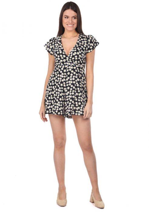 Платье-комбинезон с шортами и цветочным узором