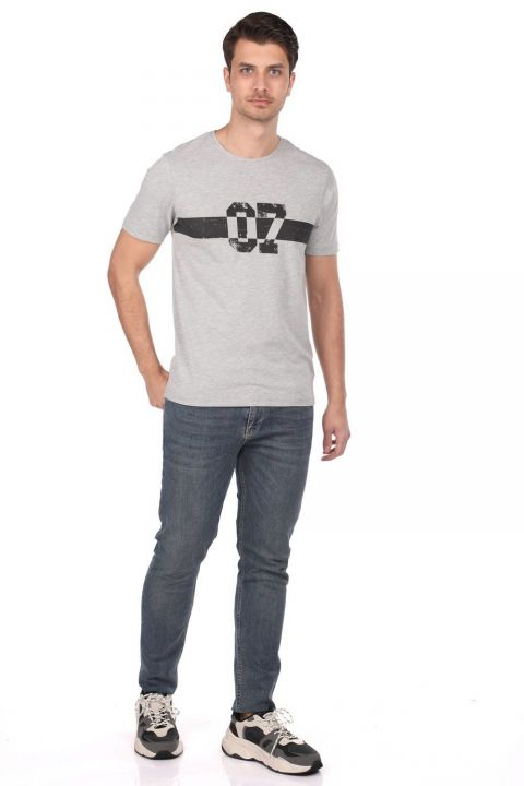 Markapia 07 Baskılı Erkek Bisiklet Yaka T-Shirt