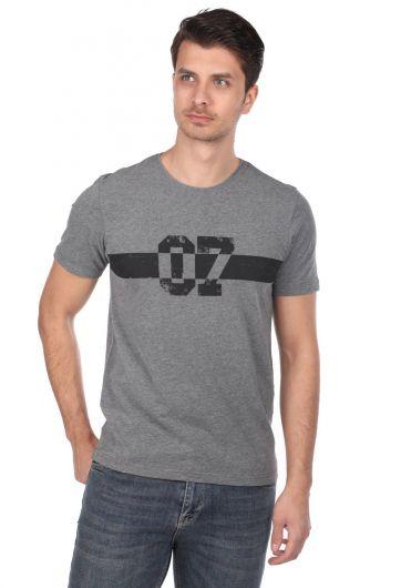 Markapia 07 Baskılı Erkek Bisiklet Yaka T-Shirt - Thumbnail