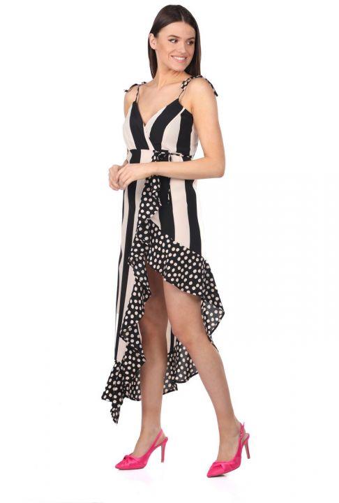 Markapia Çizgili Puantiye Desenli Asimetrik Elbise