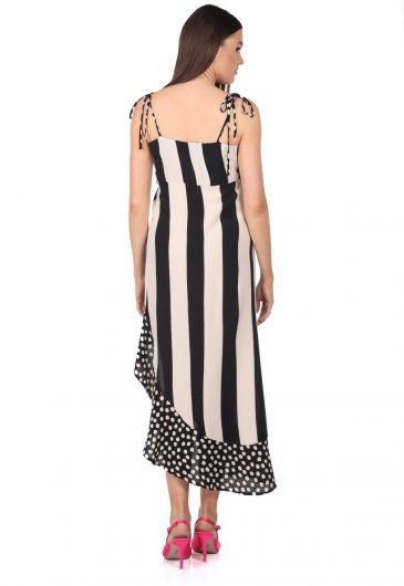 Markapia Çizgili Puantiye Desenli Asimetrik Elbise - Thumbnail