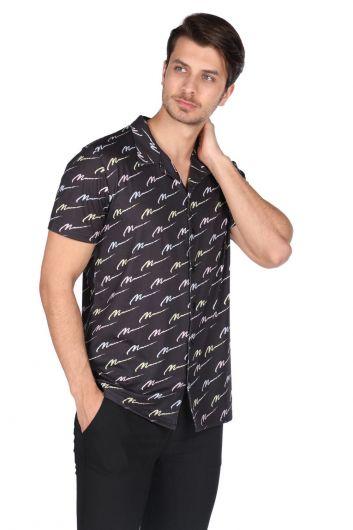 MARKAPIA MAN - ماركابيا قميص أسود منقوش بأكمام قصيرة (1)