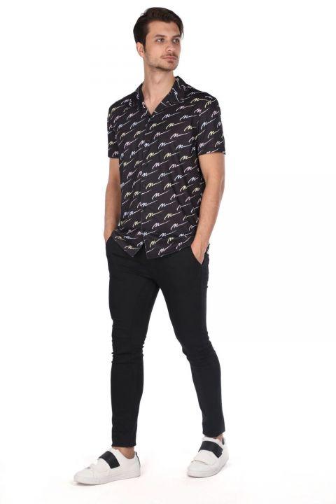 Черная рубашка с коротким рукавом с узором Markapia