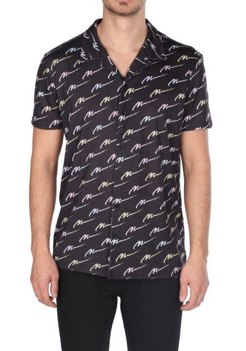 Markapia Black Patterned Short Sleeve Shirt