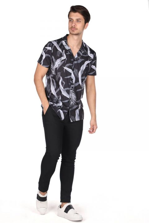 ماركابيا قميص أسود منقوش بأكمام قصيرة