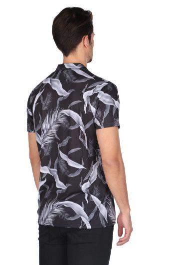 ماركابيا قميص أسود منقوش بأكمام قصيرة - Thumbnail