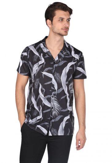 Черная рубашка с коротким рукавом с узором Markapia - Thumbnail