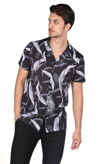 MARKAPIA MAN - Черная рубашка с коротким рукавом с узором Markapia (1)