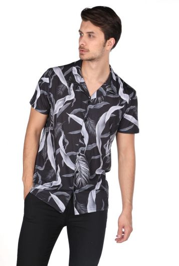 MARKAPIA MAN - Markapia Black Patterned Short Sleeve Shirt (1)