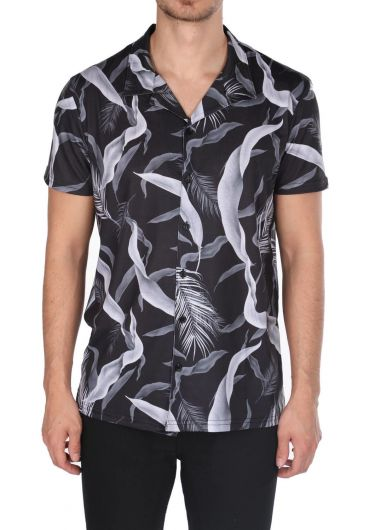 Markapia Black Patterned Short Sleeve Shirt - Thumbnail