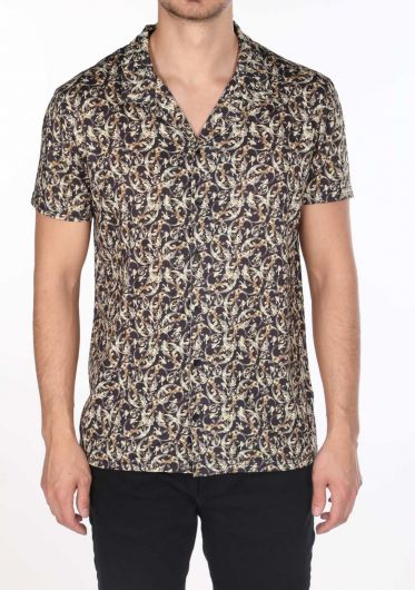 قميص ماركابيا للرجال بأكمام قصيرة منقوشة صغيرة - Thumbnail