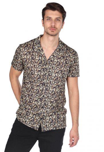 Мужская рубашка с коротким рукавом и узором Markapia - Thumbnail