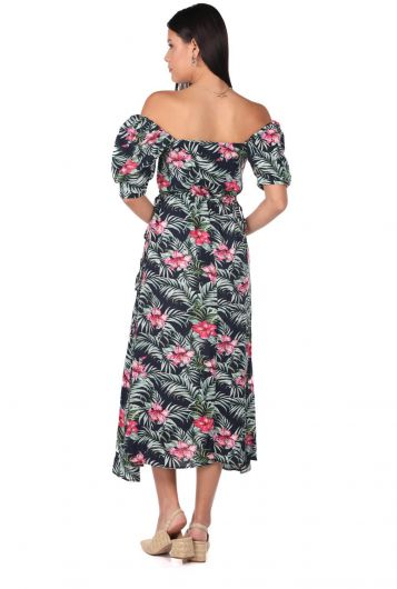 Markapia Çiçek Desenli Uzun Elbise - Thumbnail