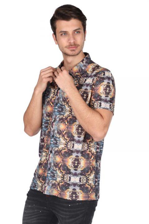 قميص ماركابيا بأكمام قصيرة منقوش ملون