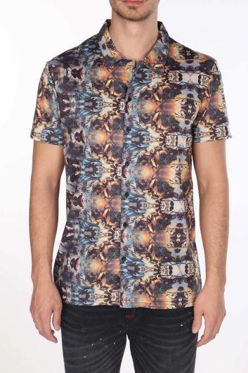 قميص ماركابيا بأكمام قصيرة منقوش ملون - Thumbnail