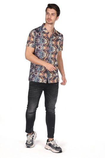 Markapia Colorful Patterned Short Sleeve Shirt - Thumbnail