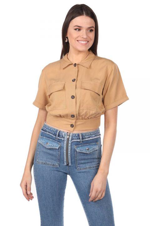 Markapia Crop Kadın Cepli Düz Ceket