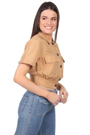 MARKAPIA WOMAN - Markapia Crop Kadın Cepli Düz Ceket (1)