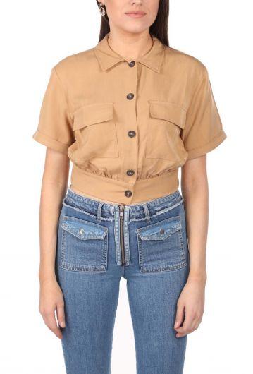Женская смирительная куртка Markapia Crop с карманом - Thumbnail