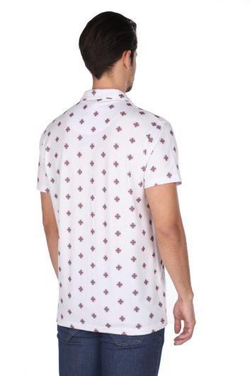 Markapia Erkek Beyaz Desenli İnce Kısa Kollu Gömlek - Thumbnail