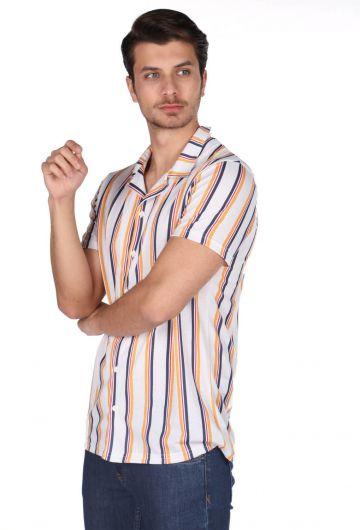 MARKAPIA MAN - Markapia Erkek Çizgi Desenli Kısa Kollu Gömlek (1)