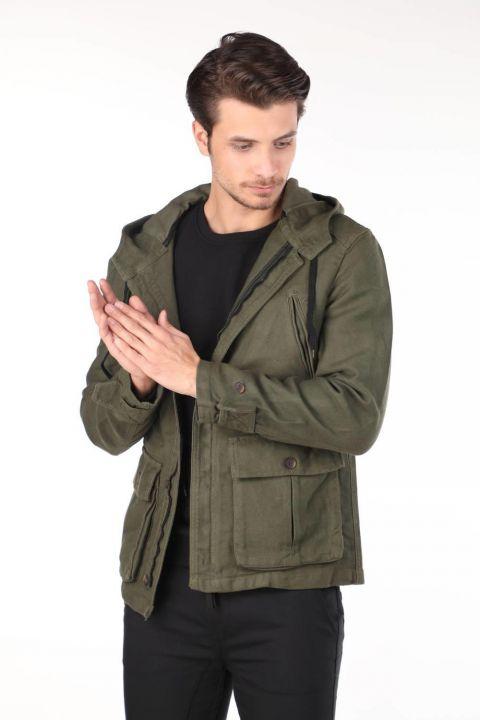 Markapia Erkek Kapüşonlu Jean Ceket