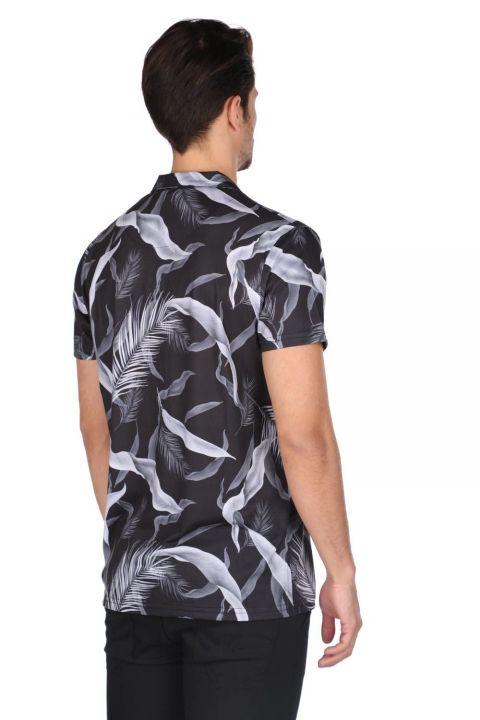 Markapia Erkek Siyah Desenli Kısa Kollu Gömlek