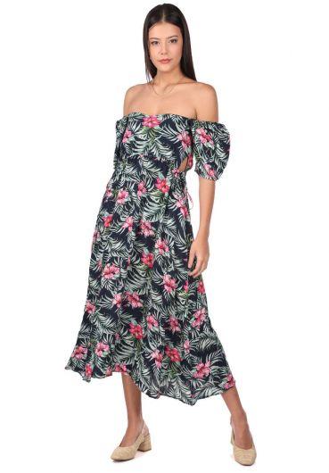 فستان طويل بنقشة الزهور - Thumbnail