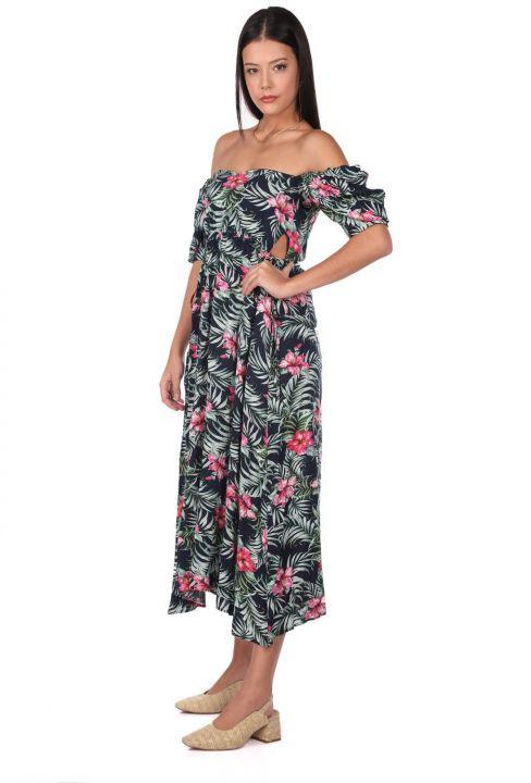 فستان طويل بنقشة الزهور