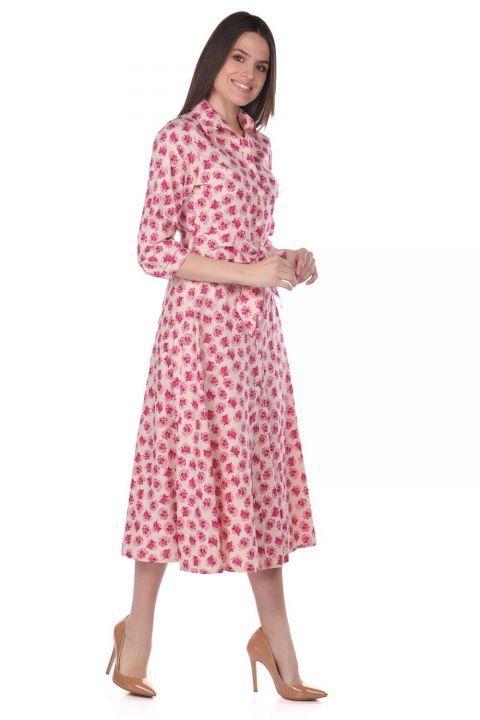 Markapia Floral Pattern Shirt Dress