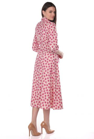 Markapia Floral Pattern Shirt Dress - Thumbnail