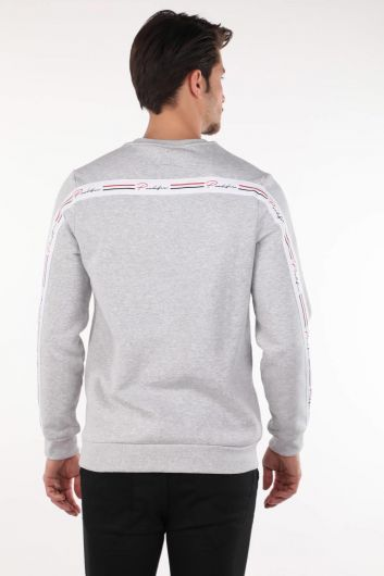 Серый мужской свитшот с круглым вырезом Markapia - Thumbnail