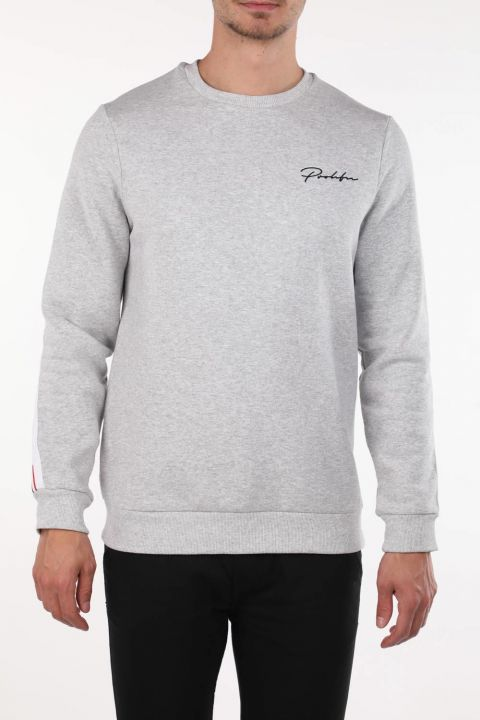 Markapia Gray Men's Crew Neck Sweatshirt