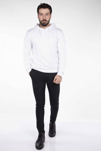 Markapia Hooded White Sweatshirt - Thumbnail