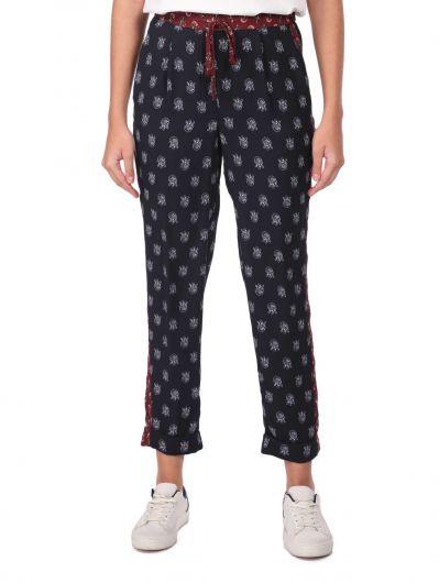 Markapia Kadın Lacivert Desenli Pantolon - Thumbnail