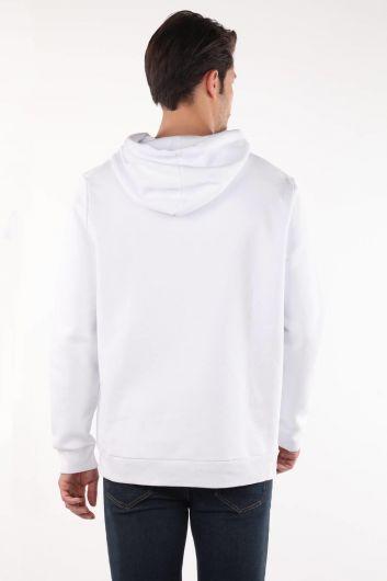 Markapia Kangaroo White Hooded Sweatshirt with Pocket - Thumbnail