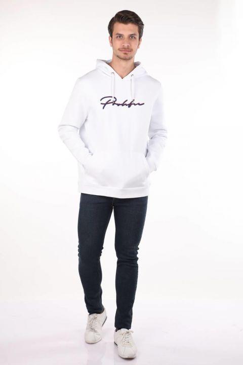 Markapia Kangaroo White Hooded Sweatshirt with Pocket